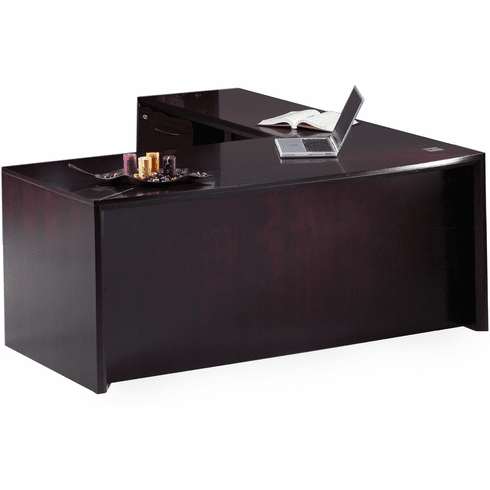"Mayline Corsica 72"" L-Shaped Executive Desk Mahogany [CT12MAH]"