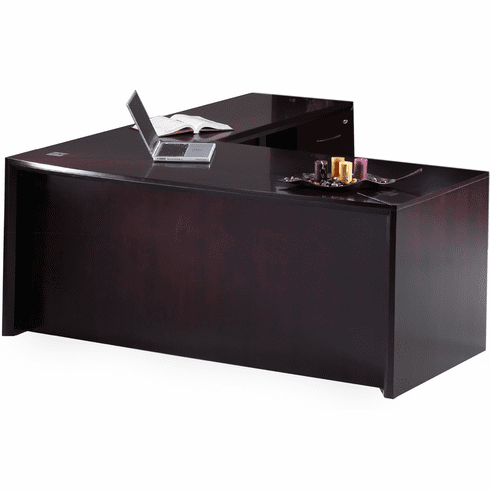 Mayline Corsica L-Shape Executive Desk Mahogany [CT11MAH]