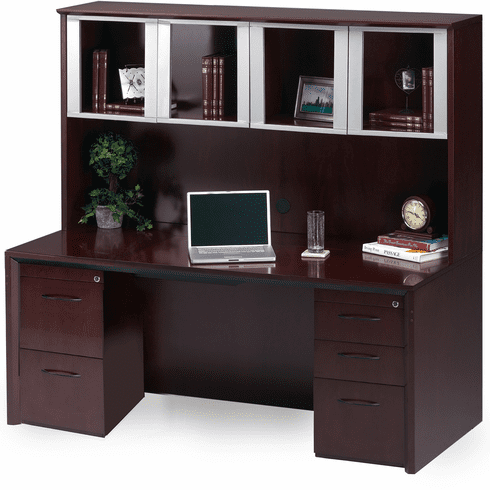 Mayline Corsica Office Desk Set Mahogany, Silver [CT16MAH]