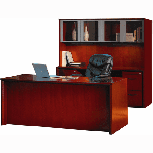 Mayline Corsica Office Desk Set Sierra Cherry, Silver [CT28CRY]