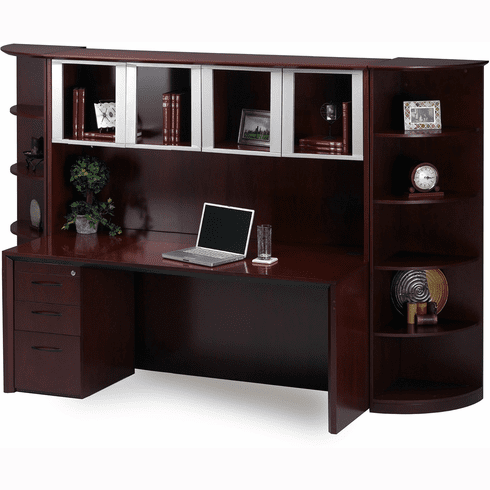 Mayline Corsica Office Desk Set Sierra Cherry, Silver [CT8CRY]