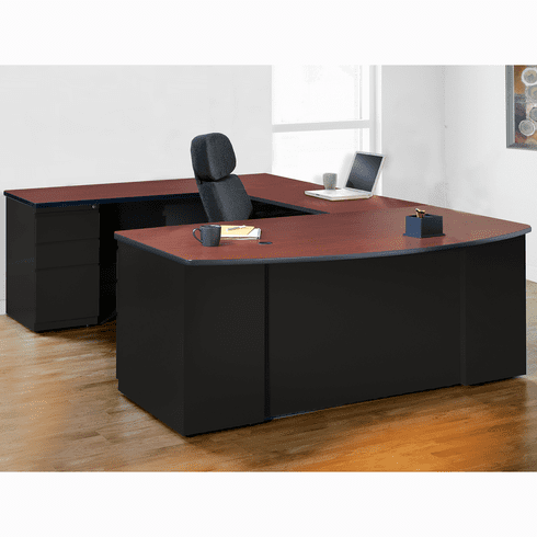 Mayline CSII Desking Office Desk Set Black, Crown Cherry [CST9CCHBLK]