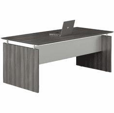 "Mayline Medina 63"" Rectangle Straight Desk Gray Steel [MNDS63LGS]"
