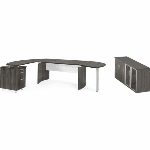 Mayline Medina Office Desk Set Gray Steel [MNT8LGS]
