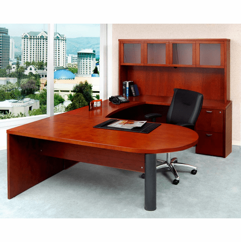 Mayline Mira Office Desk Set Medium Cherry, Frosted Glass [MEU2MC]