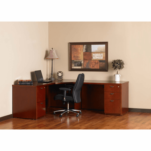 Mayline Mira Office Desk Set Medium Cherry Veneer [MCU6MC]