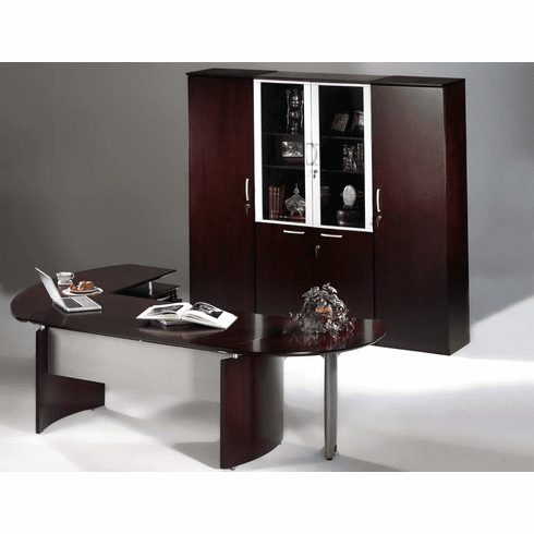 Mayline Napoli Office Desk Set Mahogany Veneer [NT11MAH]
