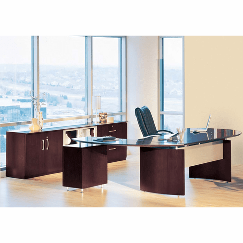 Mayline Napoli Office Desk Set Mahogany Veneer [NT15MAH]