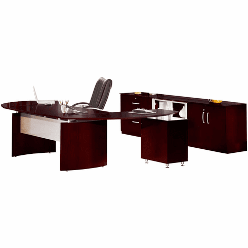 Mayline Napoli Office Desk Set Mahogany Veneer [NT16MAH]