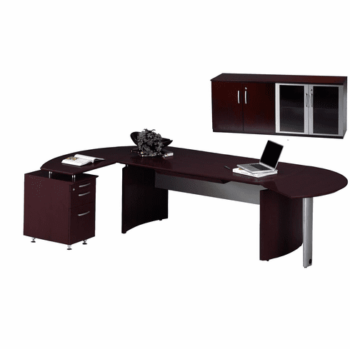 Mayline Napoli Office Desk Set Mahogany Veneer [NT8MAH]
