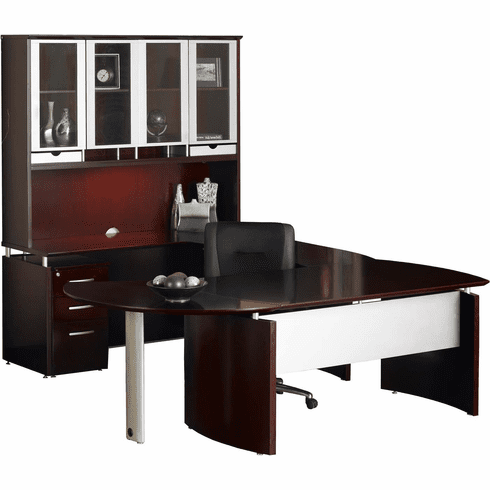 Mayline Napoli Office Desk Set Mahogany Veneer, Silver [NT30MAH]