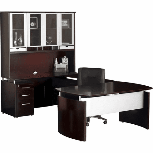 Mayline Napoli Office Desk Set Mahogany Veneer, Silver [NT33MAH]