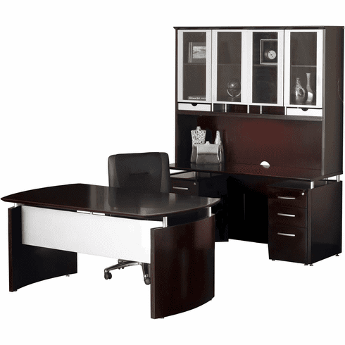 Mayline Napoli Office Desk Set Mahogany Veneer, Silver [NT38MAH]
