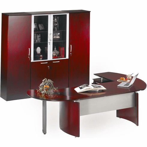 Mayline Napoli Office Desk Set Sierra Cherry Veneer [NT12CRY]
