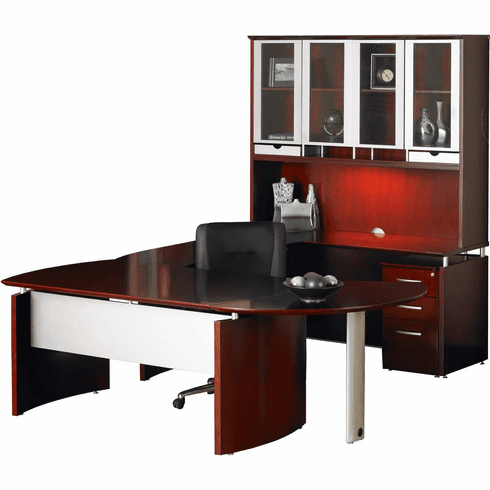Mayline Napoli Office Desk Set Sierra Cherry Veneer, Silver [NT29CRY]