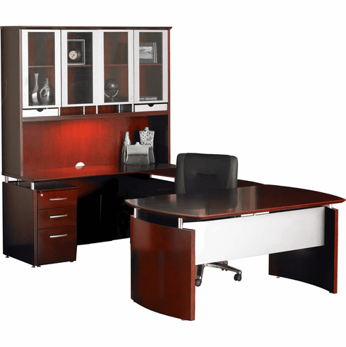 Mayline Napoli Office Desk Set Sierra Cherry Veneer, Silver [NT33CRY]
