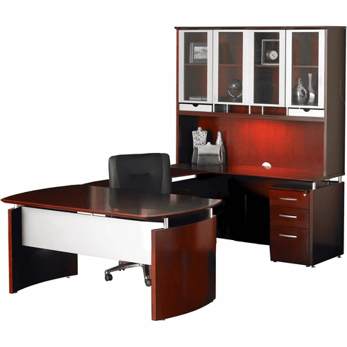 Mayline Napoli Office Desk Set Sierra Cherry Veneer, Silver [NT36CRY]