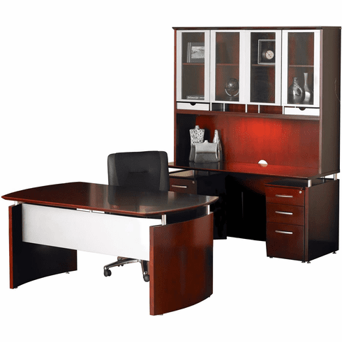 Mayline Napoli Office Desk Set Sierra Cherry Veneer, Silver [NT37CRY]