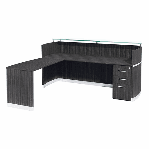 Mayline Napoli® Reception Station with ADA Return, B/B/F Pedestal Charcoal Gray [NRSLBACGR]