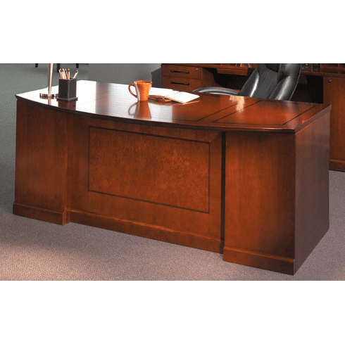 Mayline Sorrento Double Pedestal Desk, Bow Front, PBF/PBF Bourbon Cherry [SDBBB72SCR]
