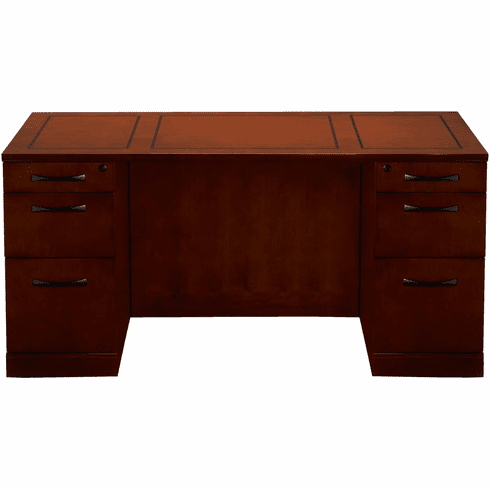 Mayline Sorrento Double Pedestal Desk, Straight Front, PBF/PBF Bourbon Cherry [SDSBB72SCR]