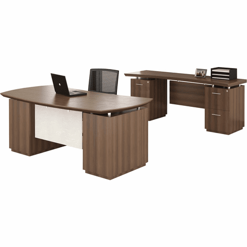 "Mayline Sterling 72"" Desk Set Textured Brown Sugar Laminate [STL9TBS]"