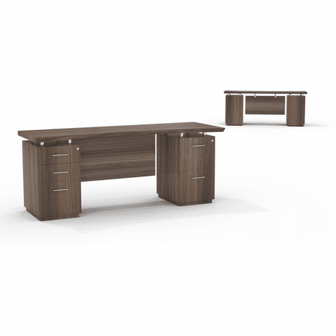 "Mayline Sterling 72""W Double Pedestal Credenza BBF & FF Textured Brown Sugar [STEC72BFTBS]"