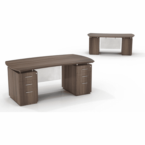 "Mayline Sterling 72""W Double Pedestal Desk 2 BBF Textured Brown Sugar [STED72BTBS]"