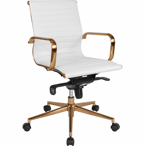 Fantastic Mid Back White Ribbed Leather Executive Swivel Office Chair Gold Frame Knee Tilt Control And Arms Bt 9826M Wh Gd Gg Pdpeps Interior Chair Design Pdpepsorg