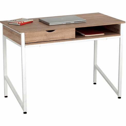 Office Desk Single Drawer Beech Top White Frame [1950WH]