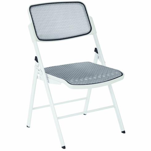 Astonishing Office Star 2 Modern White Fabric Metal Progrid Mesh Seat Back Folding Chairs 81101 Evergreenethics Interior Chair Design Evergreenethicsorg
