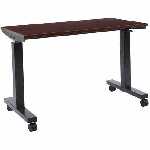 Office Star 4 ft. Wide Pneumatic Height Adjustable Table Black / Mahogany [HAT60243-M]