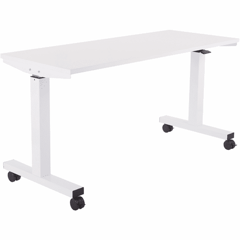 Office Star 5 ft. Wide Pneumatic Height Adjustable Table White [HAT60251-1]