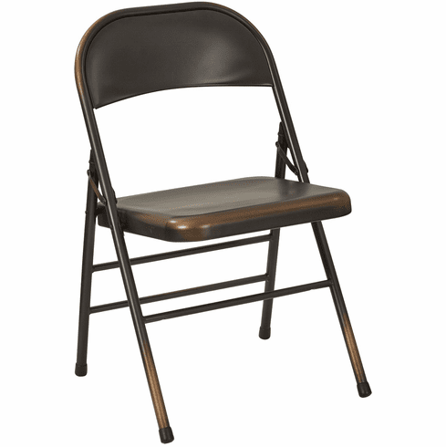 Office Star Bristow Set of 2 Steel Folding Chairs Antique Copper [BRW831A2-AC]