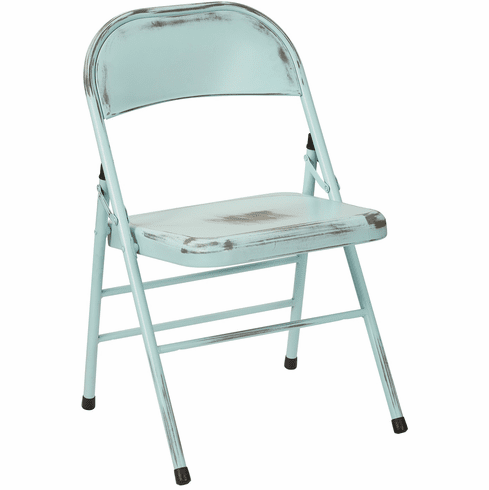 Office Star Bristow Set of 2 Steel Folding Chairs Antique Sky Blue [BRW831A2-ASB]
