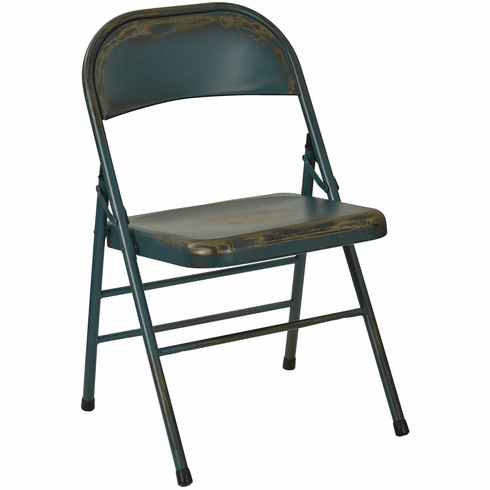 Office Star Bristow Set of 2 Steel Folding Chairs Antique Turquoise [BRW831A2-ATQ]
