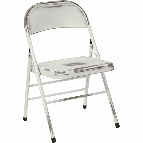 Office Star Bristow Set of 2 Steel Folding Chairs Antique White [BRW831A2-AW]