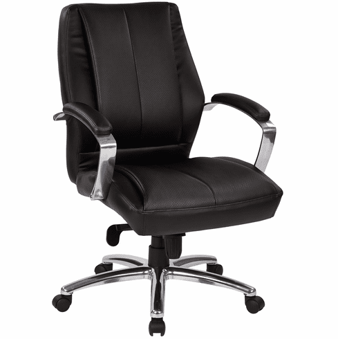 Deluxe Mid Back Executive Black Bonded Leather Chair
