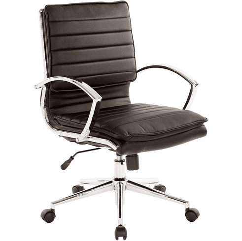 Office Star Pro-Line II™ Mid Back Manager's Chair Black Faux Leather [SPX23591C-U6]