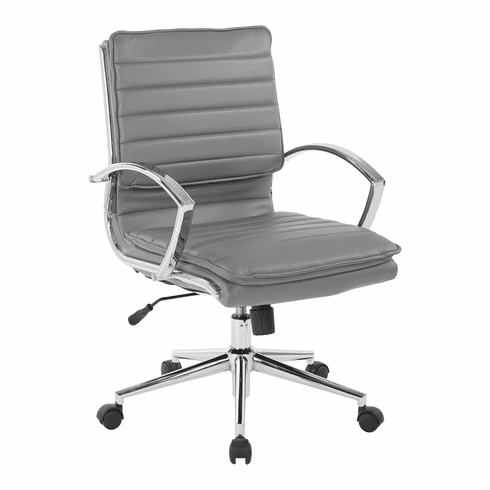 Office Star Pro-Line II™ Mid Back Manager's Chair Charcoal Faux Leather [SPX23591C-U42]
