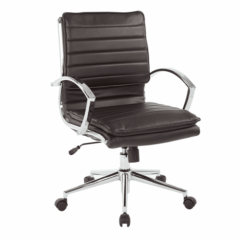 Office Star Pro-Line II™ Mid Back Manager's Chair Espresso Faux Leather [SPX23591C-U1]