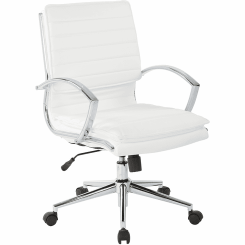 Office Star Pro-Line II™ Mid Back Manager's Chair White Faux Leather [SPX23591C-U11]