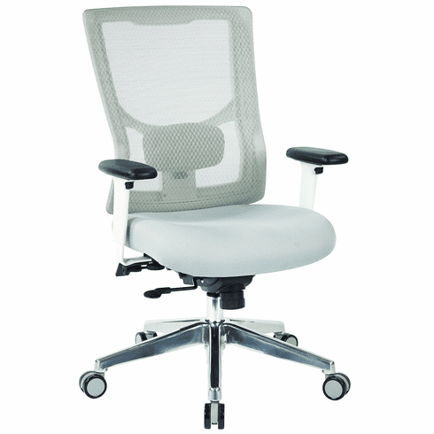 Progrid White Mesh High Back Chair With 2 Way Adjule Arms Ratchet Deluxe To 1 Synchro Tilt Control And Seat Slider