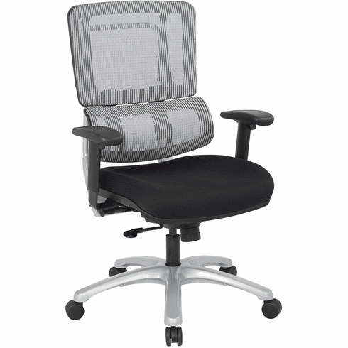 Office Star Pro-Line II™ Vertical Grey Mesh Back Chair Silver Base [99666S-30]
