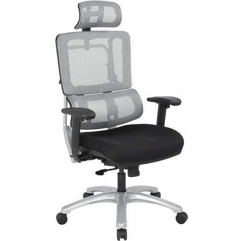Office Star Pro-Line II™ Vertical Grey Mesh Back Chair Silver Base, Headrest [99666SHRS-30]