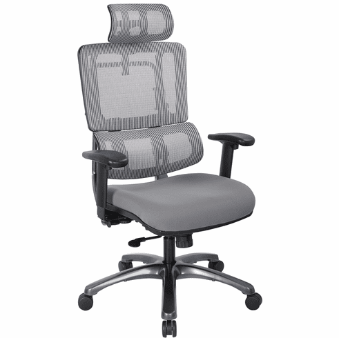 Office Star Pro-Line II™ Vertical Grey Mesh Back Chair Titanium Base [99667THRS-5811]