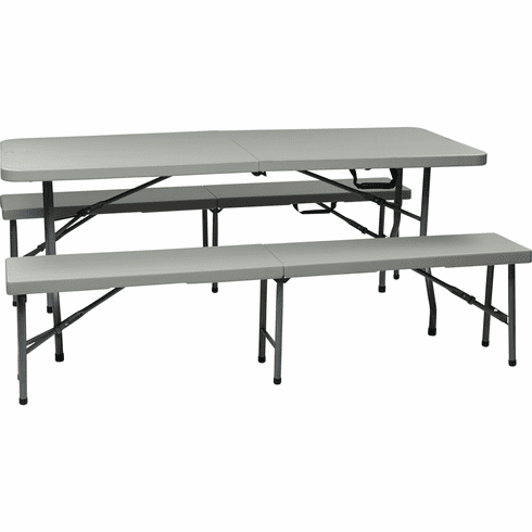 Office Star Work Smart™ 3 Piece Folding Table & Bench Set [QT3965]