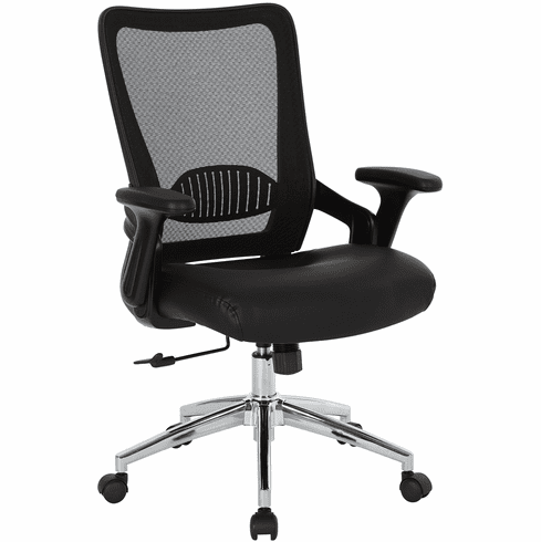 Office Star Work Smart™ Black Bonded Leather Seat Chair [EMH6921C EC3]
