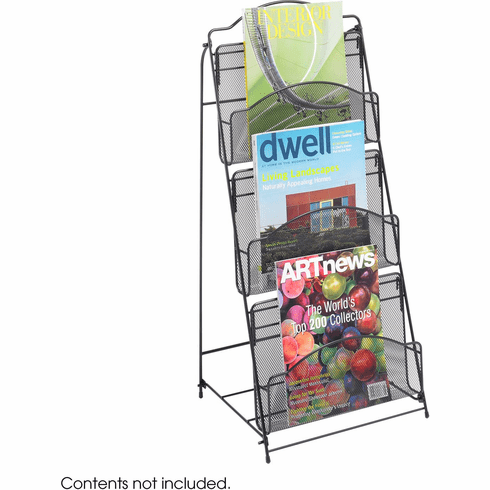 Onyx™ Floor Literature Organizer Rack 3 Pocket Mesh Black [6460BL]