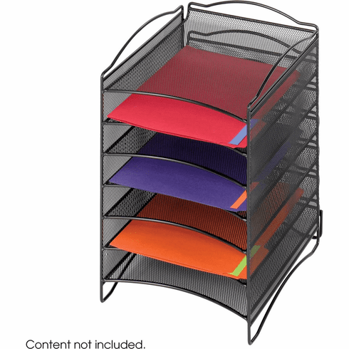Onyx™ Literature Organizer 6 Compartment Mesh Black [9431BL]